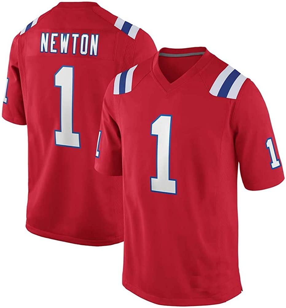 Cam Newton #1 New England Patriots American Rugby Jersey Unisex Sports Short Sleeve Sweatshirt Fitness Breathable Embroidery Repeatable Cleaning