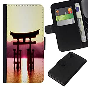 All Phone Most Case / Oferta Especial Cáscara Funda de cuero Monedero Cubierta de proteccion Caso / Wallet Case for LG Nexus 5 D820 D821 // Beautiful Japanese Mountain
