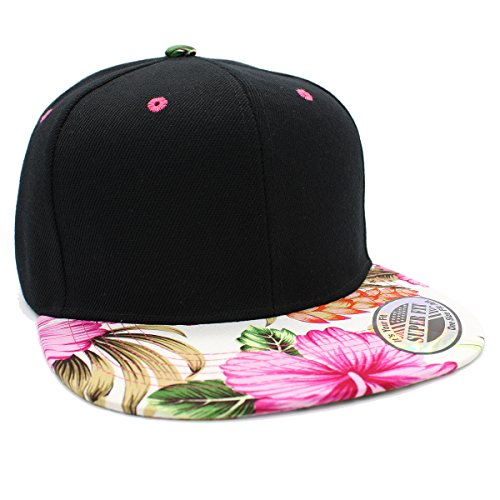 LAFSQ Plain Hawaiian Flower Printed Brim Flat Bill Snapback Cap - Floral Snapback Men's