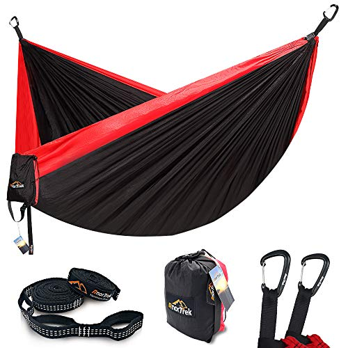 AnorTrek Camping Hammock, Lightweight Portable Single & Double Hammock with Tree Straps [10 FT/18+1...