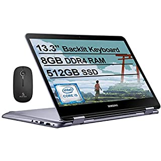 2021 Samsung_Notebook 7 Spin 13 FHD 1080P Touchscreen 2-in-1 Laptop| Intel Core i5-8250U up to 3.4GHz| 8GB LPDDR3 RAM| 512GB SSD| FP Reader| Backlit KB| Win 10 + NexiGo Wireless Mouse Bundle