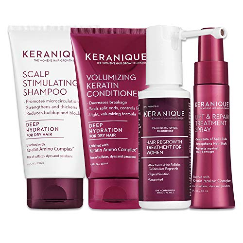 Keranique Hair Regrowth System - 30 Days - Keratin Amino Complex - Free of Sulfates, Dyes and Parabens, Includes Shampoo and Conditioner, Minoxidil and Lift and Repair Spray for Dry Thinning Hair
