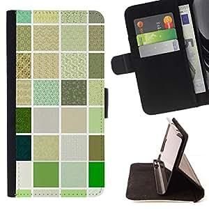 Checkered Green Quilt Pattern - Modelo colorido cuero de la carpeta del tirón del caso cubierta piel Holster Funda protecció Para Apple Apple iPhone 4 / iPhone 4S