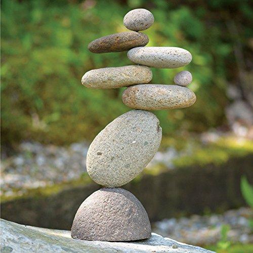 Garden Rock Sculpture (Eight-Stone Balancing Cairn - Indoor/Outdoor Garden Decoration)