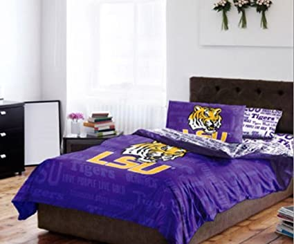 Amazon Com Lsu Tigers Full Size Comforter Sheets Set Ncaa 5