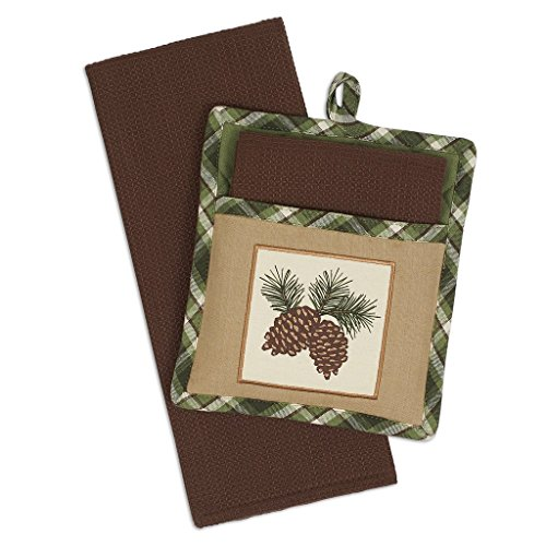 (Heart of America Gift Set Pinecone Sprig Potholders & Dishtowels - 4 Pieces)