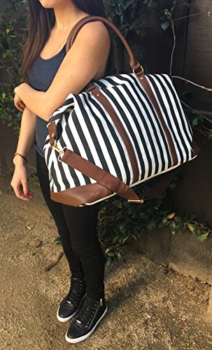 Cyber-Monday-Sale-2017, Holiday-Deals, Sales - Black Travel Tote, Lulu Dharma Womens Striped Weekender Bag, Duffle Bag, Overnight Bag, Travel Bag, Luggage, Suitcase, Oversized Bag, Carry On Luggage by Lulu Dharma (Image #1)
