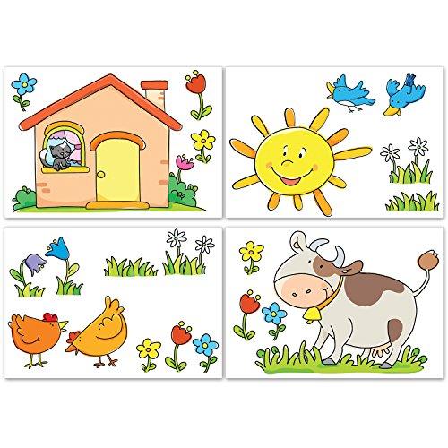 LeoStickers®- LeoKit A la Campagne: 22 adhésifs professionnels pour la chambre du bébé. Ferme, vache, moineaux, poulets, prairie fleurie ... Transformez la chambre de votre enfant dans une campagne jo