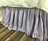 Lavender Linen Bed Skirt with Ruffle Hem, Romantic and Pretty!