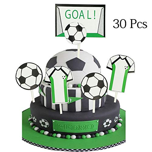 Soccer Cupcake Toppers,Soccer Series Decoration Appetizer/Food Picks, Afternoon Desserts Decoration On Hamburger, Desserts, Appetizer, Cakes, Cupcake Toppers]()