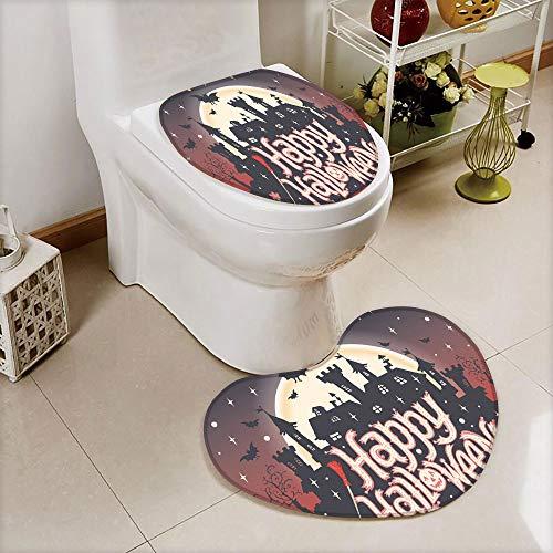 iPrint 2 pcs Toilet Cover Set Non-Slip mat Bathroom Non-Slip mat,Happy Halloween Typography Stars Bats Moon,3D Print Heart Shape Toilet seat Cushion Customized -