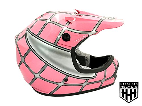 SmartDealsNow DOT Youth & Kids Helmet for Dirtbike ATV Motocross MX Offroad Motorcyle Street bike Flat Matte Black Helmet (Small, Pink Net)