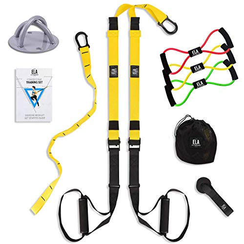 Suspension Trainer Bundle Kit I All in One I Bodyweight Training Straps - 3 Resistance Loop Bands - Wall Mount Bracket - Carrying Bag - Exercise Book I Body Workout & Home Gym