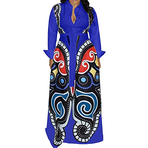 Womens African Dresses Long Sleeve - Elegant Sexy Floral Print Button Down Casual Party Bodycon Long Maxi Dress with Belt Royal Blue Large (Royal Blue Maxi Dress)