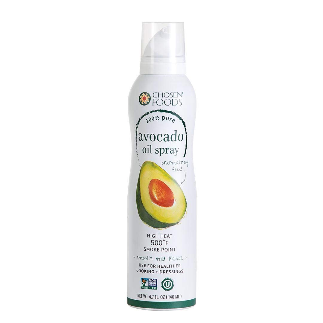 Chosen Foods 100% Pure Avocado Oil Spray 4.7 oz. (2 Pack), Non-GMO, 500° F Smoke Point, Propellant-Free, Air Pressure Only for High-Heat Cooking, Baking and Frying by Chosen Foods (Image #1)