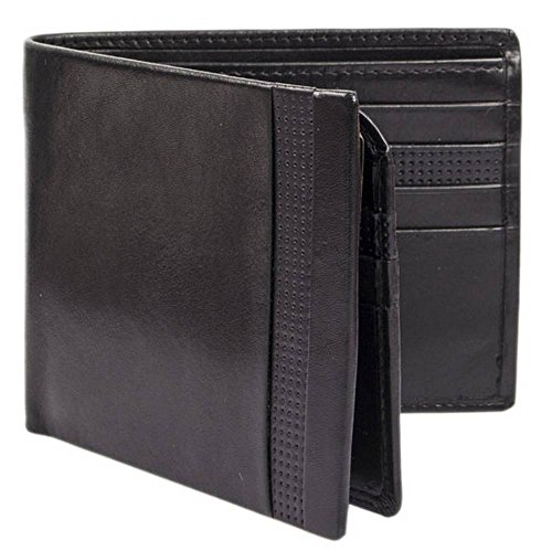 Punched Smooth Black Smooth Bifold Mens Punched Leather Dents Wallet Dents Mens EqOUY