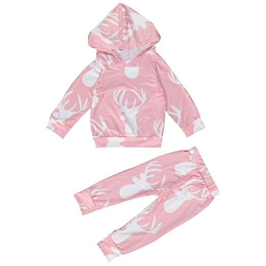 f3b57189b Amazon.com  Toraway Newborn Baby Infant Girl Boys Deer Print Hoodie ...