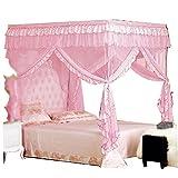 CdyBox 4 Corners Bed Canopy Twin Full Queen King Mosquito Net (Full/Queen, Pink)