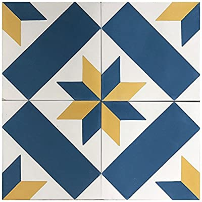 """Rustico Tile and Stone RTS9.1 Estrella Cement Tile Pack of 13, 8"""" x 8, Blue/Gold/White"""