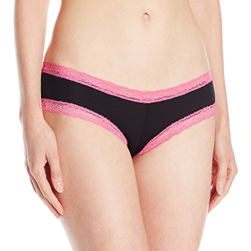 Baci Lingerie Women's Let's Play Microfiber Boyshort Panty, Black/Pink, Small
