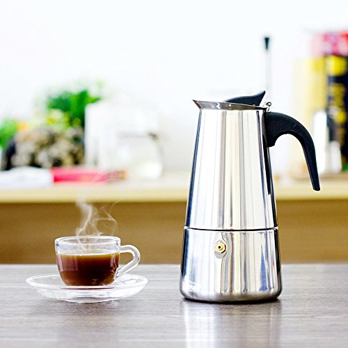 Italian Coffee Maker Moka Express-Siduo CM0001(2017 Improvement Design) Espresso Coffee Makers Coffee Pot include 2 Cup,4 Cup,6 Cup,9 Cup Single Serve for Ground Coffee,Eco Coffee,Cuban Coffee (6 Cup)