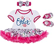 Happy Easter Tutu Outfit for Infant Baby Girls Newborn Toddler Easter Eggs Bunny Printed Romper Dress with Hea