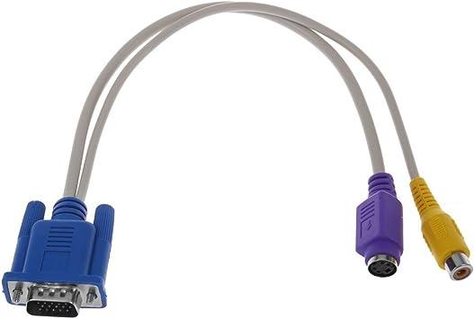 SODIAL(R) PC 15 Pin VGA macho a TV S-Video / RCA Hembra AV Salida Cable de adaptador Amarillo Purpura: Amazon.es: Electrónica