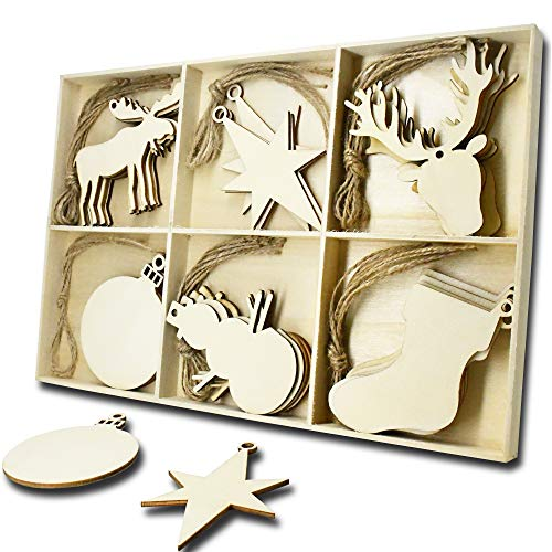 30 Pcs Wooden Ornaments Shapes,YuQi Unfinished Wood Crafts for Home Decor Blanks,Christmas Tree Hanging Ornament Sets Embellishments with Natural Twine Kits(Balls,Shoes,Gourd,Starfish,ELK,Deer Head)