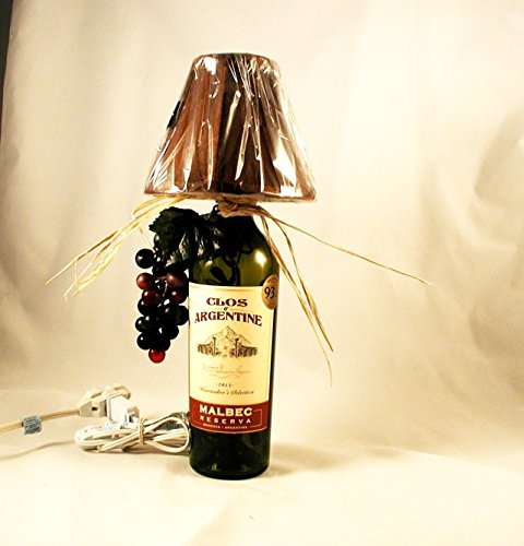 Wine Bottle Table Lamp Crafted From a Repurposed Clos d'Argentine 2011 Malbec Wine Bottle. Shipping is included Argentine Malbec