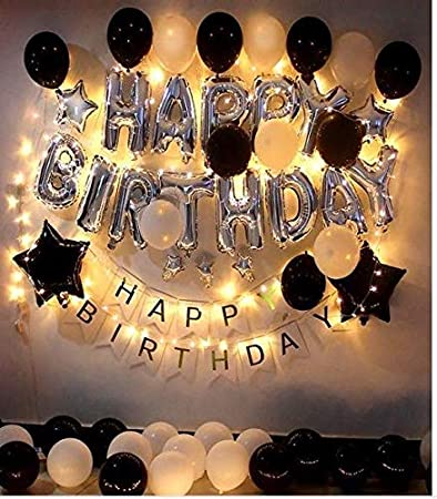 Theme My Party Birthday Decorations Kit Black and Silver Birthday Party  Supplies - Happy Birthday Balloons Banner, Led String Lights, Black Happy