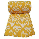 Kiara Indian Kantha Quilts Cotton Floral Print Bedspreads & Coverlets Ikat reversible paisley Pattern Stitch Throws Twin Size / Queen Size (Buzz Yellow, Twin)
