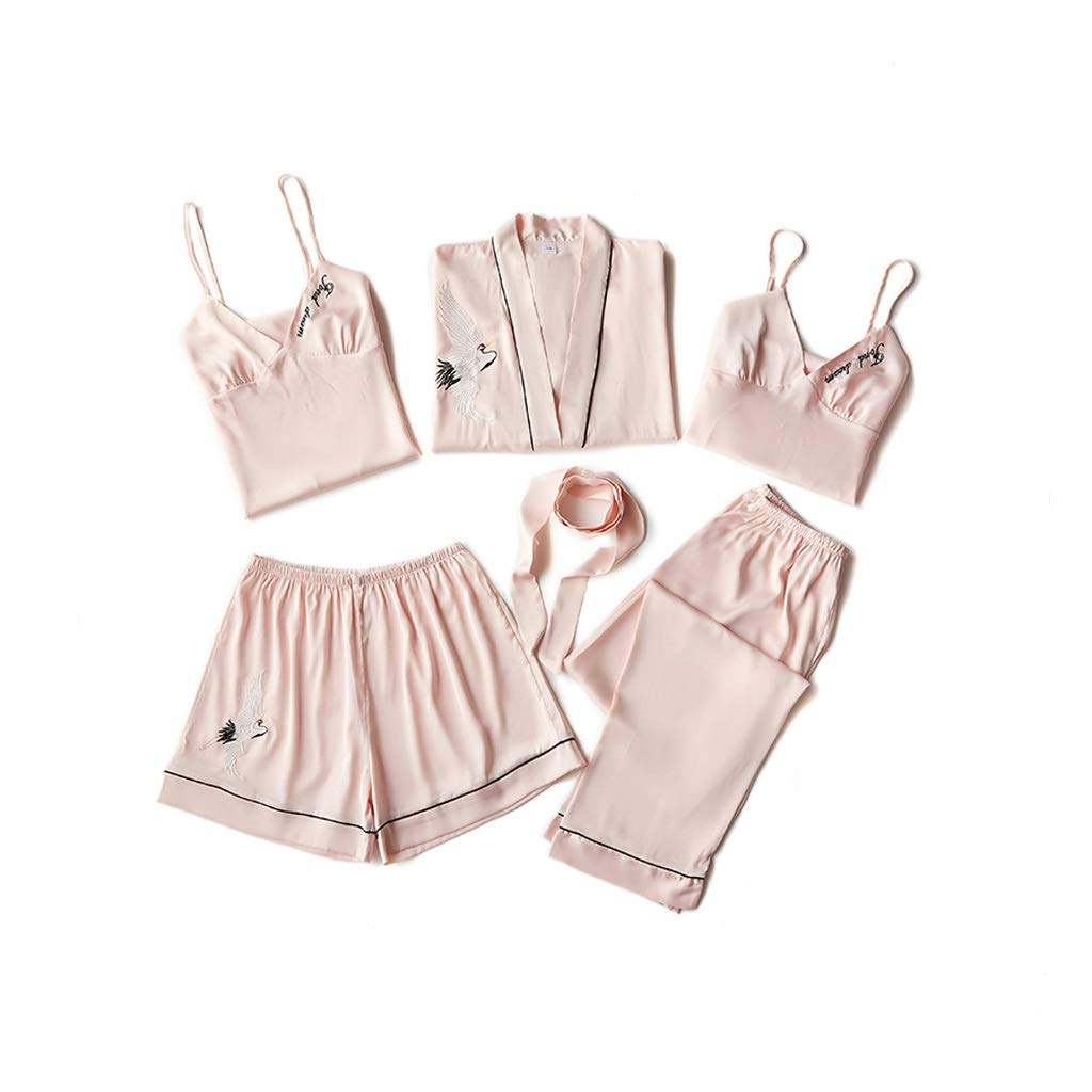1 Fivepiece Women's Longsleeved Pajamas Sling Nightdress With Chest Pad Longsleeved Dressing Gown