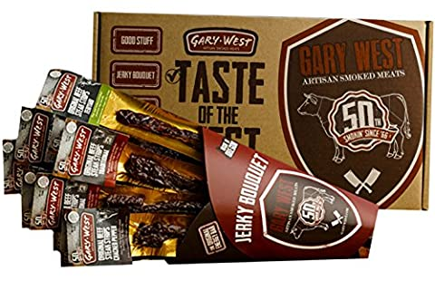 Jerky Bouquet - Jerky Lover Gift - 12 Premium Beef Jerky Steak Strips - 4 Flavors - Comes in an Awesome Gift Box - Great Gift For Men - Birthday - Italian Jerky