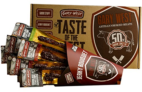 Jerky Bouquet - Jerky Lover Gift - 12 Premium Beef Jerky Steak Strips - 4 Flavors - Comes in an Awesome Gift Box - Great Gift For Men - Birthday Gift (Snack Bouquets)