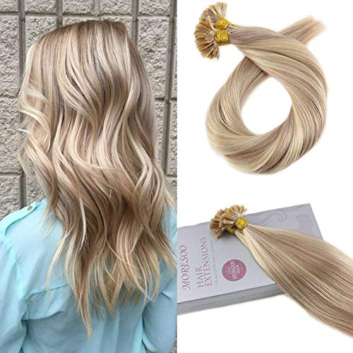 (Moresoo 16 Inch Pre Bonded Tipped Hair Extensions Remy Human Hair Color #18 Ash Blonde Highlighted with #613 Blonde Utip Hair Extensions Fusion Human Hair Keratin Hair Extensions 1g/1s 50G)