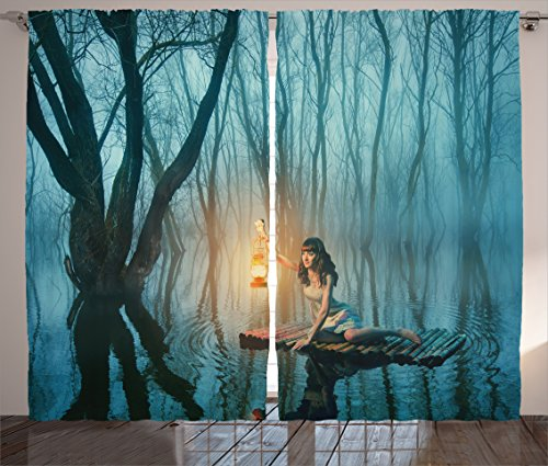 Ambesonne Gothic Decor Collection, Fairy Tale Woman with Lantern Floating on Lake Rustic Dress in Misty Forest Picture, Living Room Bedroom Curtain 2 Panels Set, 108 X 84 Inches, Cloudy Blue
