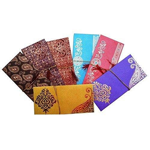 Lightahead GIFT ENVELOPE CARD MONEY HOLDER FANCY PACKET FOR WEDDING ANNIVERSARY CHRISTMAS AND OTHER FESTIVE OCCASIONS SET OF 5 ASSORTED COLORS & DESIGN (set of 5) (Best Indian Wedding Cards)