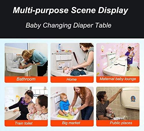 おむつ交換テーブル WSF ウォールは安全ストラップと駅を変更する赤ん坊のおむつをマウント - 水平商業トイレデイケアのための理想的な、折ります
