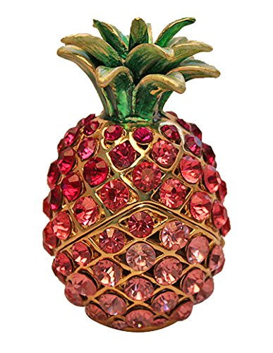Miniature Pineapple Jeweled Trinket Box Earring Jewelry Box with Czech Crystal Stones (Pink)
