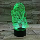 LE3D 3D Optical Illusion Desk Lamp/3D Optical Illusion Night Light, 7 Color LED 3D Lamp, Star Wars 3D LED For Kids and Adults, R2D2 Light Up