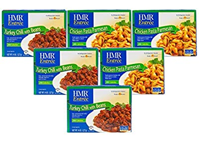 HMR Chili Mac Pack 6 Entree Bundle: 3 each of Turkey Chili with Beans and Chicken Pasta Parmesan, 8 oz. serving, 6 Count