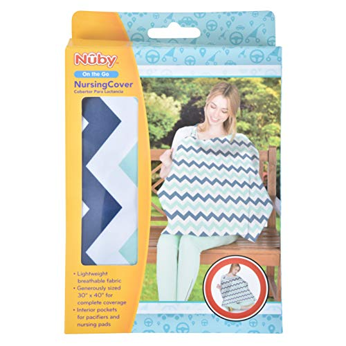 Nuby Nursing Cover with Interior Pockets, Damask, 26