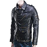 Prim leather Men's Lambskin Leather Bomber Biker Jacket Medium Black