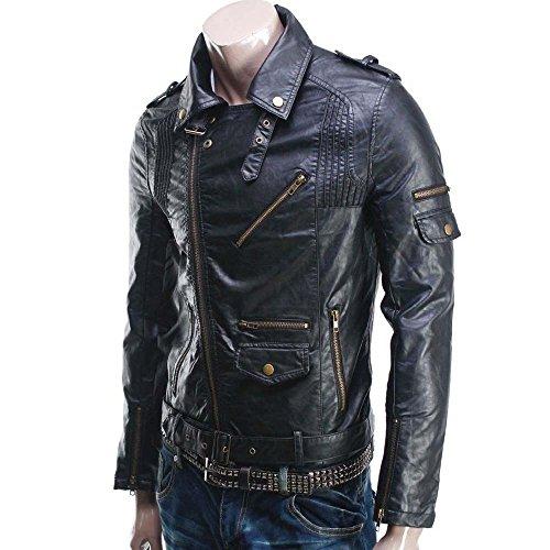 Prim leather Men's Lambskin Leather Bomber Biker Jacket X-Small