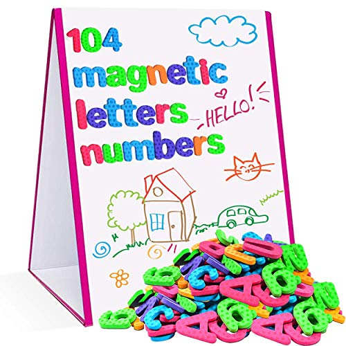 Star Right Magnetic Letters & Numbers with Easel for Kids - Educational Alphabet Magnets for Learning -Includes 104 Magnets with 1 Dry Erase Magnetic Easel - Learning Toys for 4+ Year Olds (Learning Easel)