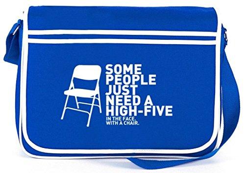 Shirtstreet24, High Five, Retro Messenger Bag Kuriertasche Umhängetasche Royal Blau