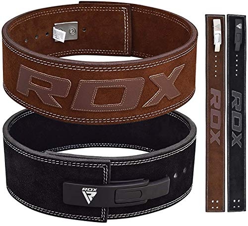 RDX Powerlifting Belt for Weight Lifting Gym Training - Lever Buckle Leather Belt 10mm Thick 4' Lumbar Back Support -...