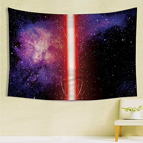 (longbuyer GalaxyWall Tapestry HangingFamous Movie Weapon Fantastic Galaxy War between Enemies Theme Sword with RedWall DecorL59.1 xH82.7 Black.)