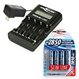ANSMANN Powerline 4 Light Smart Battery Charger for NiMH & NiCd AA, AAA Rechargeable Batteries + USB-Port for iPhone/Android (450mAh Charging Power), with LCD-Display + 4x 2850mAh AA Battery