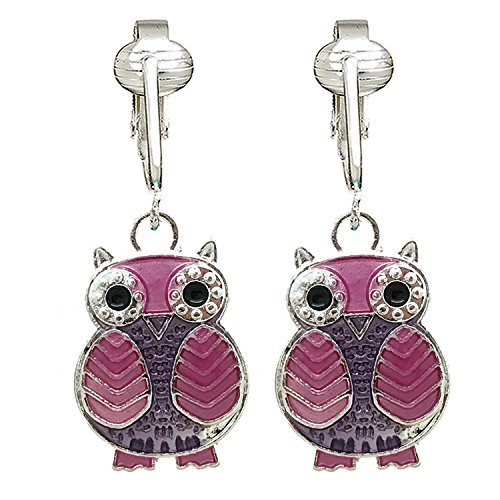 Sparkle Fun Owl Clip On Earrings for Girls, Women-Glitter Sparkling Cute Birthday Gift Non-pierced Ear (Pink Owls)